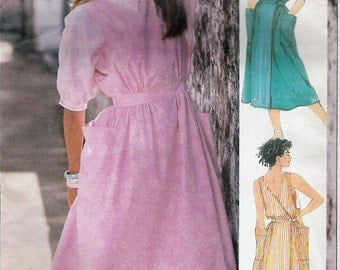80s dress - wrap dress pattern - Simplicity 7316 - 80s sundress pattern - blouse pattern - size 6-8-10 - uncut ff - 80s clothing