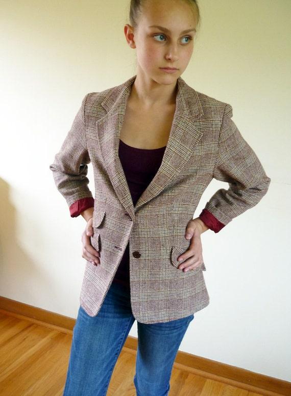 70s blazer - plaid wool blazer