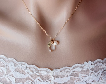 Initial necklace,  bridesmaid gifts, birthstone initial leaf charm, pearl necklace - wedding jewelry, bridal jewelry, personalize necklace