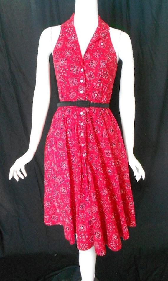 Vintage Sundress Red Bandana Print Dress Shirtwaist Dress Med 1980s Does 1960s Look Medium