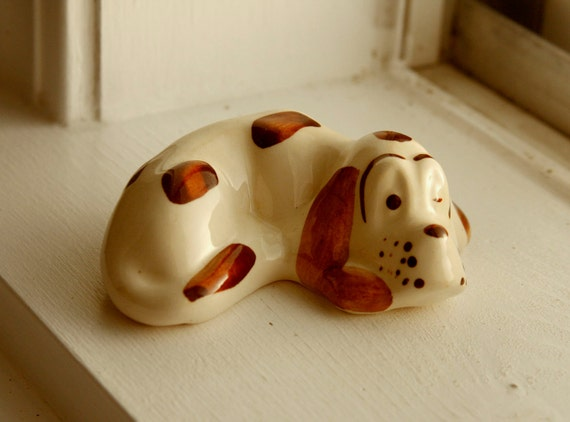 Vintage Dog Figurine / Spot / Puppy / Sleeping / Brown