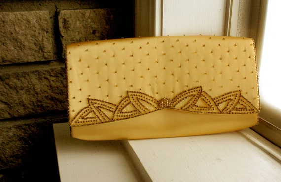 Gold Satin Beaded Clutch / Vintage / Beautiful / Ornate