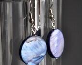 SALE - Purple Mother of Pearl like Dangle Earrings