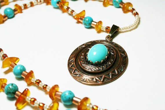 SALE Bohemian Necklace With Upcycled Pendant - Amber, Turquoise Magnesite and Copper - SRAJD
