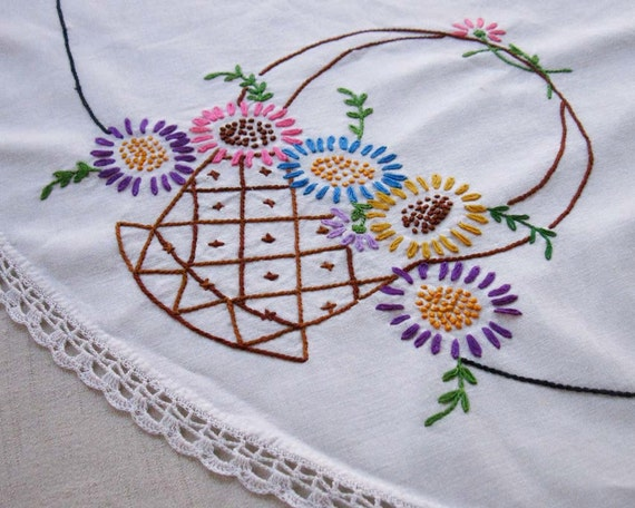 Vintage Hand Embroidered Round Tablecloth: Flower Basket Design with Crochet Lace Border, 32 Inch Diameter, Circa 1960s