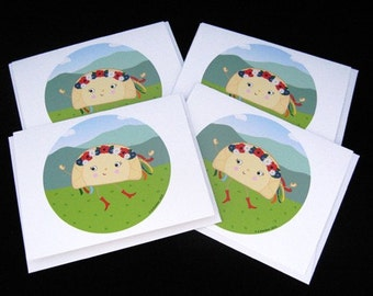 Ukrainian Dancing Perogy Varenyk 4 Pack of Cards- Illustration by A.Bamber