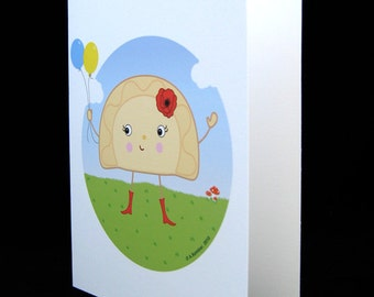 Happy Food Perogy (Ukrainian Varenyk) Birthday Balloon Ukrainian Pride Balloon Card - Illustrated by A.Bamber
