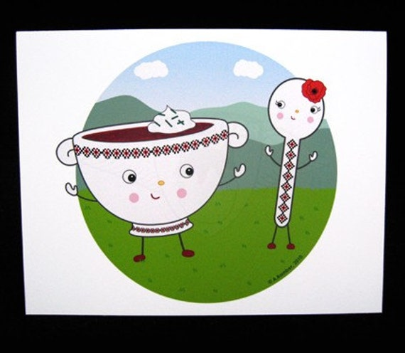 Borshch and Spoon Blank Greeting Card - Illustration by A.Bamber