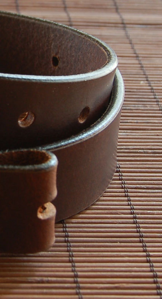 "Custom Cut Interchangeable Leather Belt Brown Full Grain Buffalo 1-1/4"" or 1-1/2"" Widths Made in Canada"