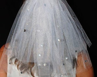 Wedding Or Bachelorette Party 2 Tier Veil Clip With Rhinestones