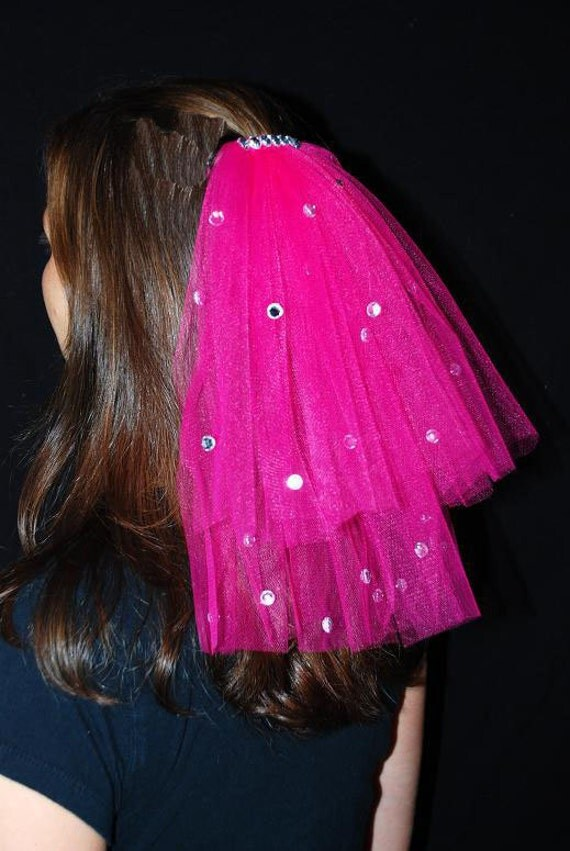 Hot Pink Wedding Or Bachelorette Party 2-Tier Veil Clip With Rhinestones