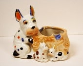 Vintage Ashtray, Spotted Dog, Terrrier, Porcelain, Lustreware, Lusterware, Dish, Pencil Cup, 1930s, Polka Dots, Puppies, Spots, Dogs, Scotty