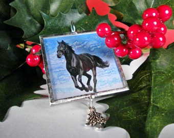 Black Horse Ornament, FREE US Shipping, Friesian, Christmas, Holidays, Horse, Cowgirl, Cowboy, Equestrian