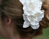 Bridal Hair Flower, Bridal Comb, Ivory, Rose Head Piece, Velvet Leaves