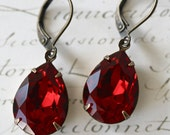 Ruby Red Swarovski Crystal Earrings, Vintage Style, Tear Drop Earrings, Estate Style, Red Earrings, Ruby Earrings, Valentine's Day