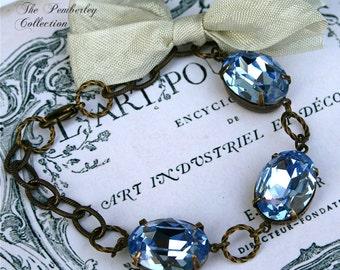 Sapphire Bracelet, Swarovski Crystal Bracelet, Blue Crystal Bracelet, Estate Style Bracelet, Something Blue
