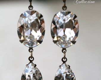 Bridal Earrings, Swarovski Crystal Earrings, Estate Style Earrings