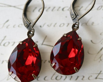 Ruby Red Swarovski Crystal Earrings, Vintage Style, Tear Drop, Estate Style, Valentine's Day