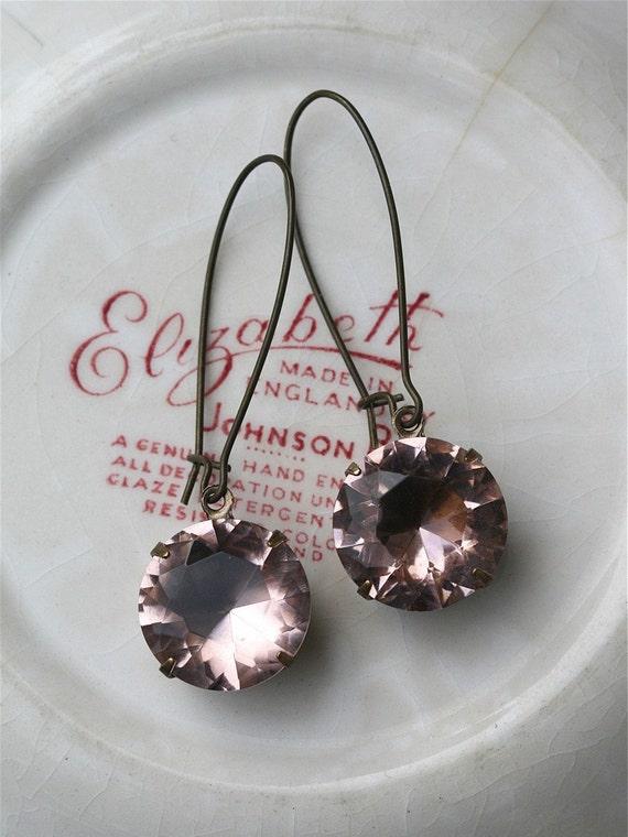 Blush Earrings,  Estate Style Earrings, Pink Earrings
