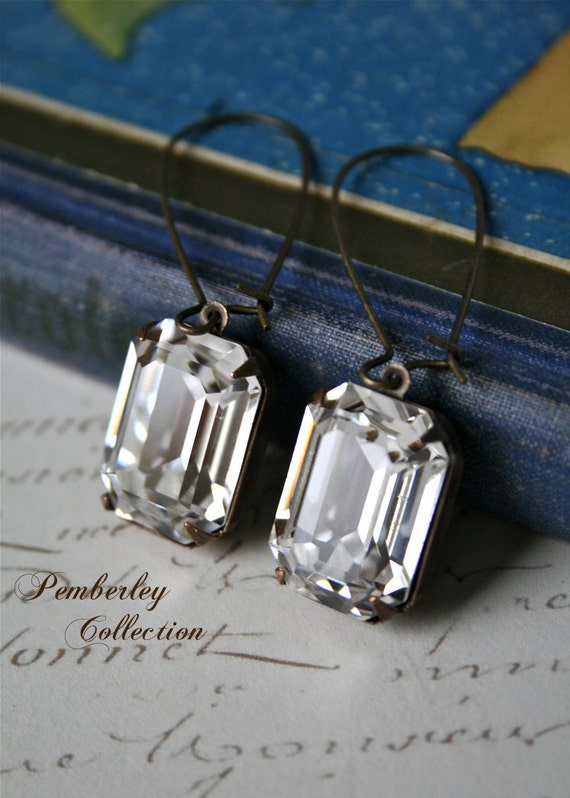 Emerald Cut Swarovski Crystal Earrings, Estate Style Earrings, Vintage Style, Emerald Cut Earrings
