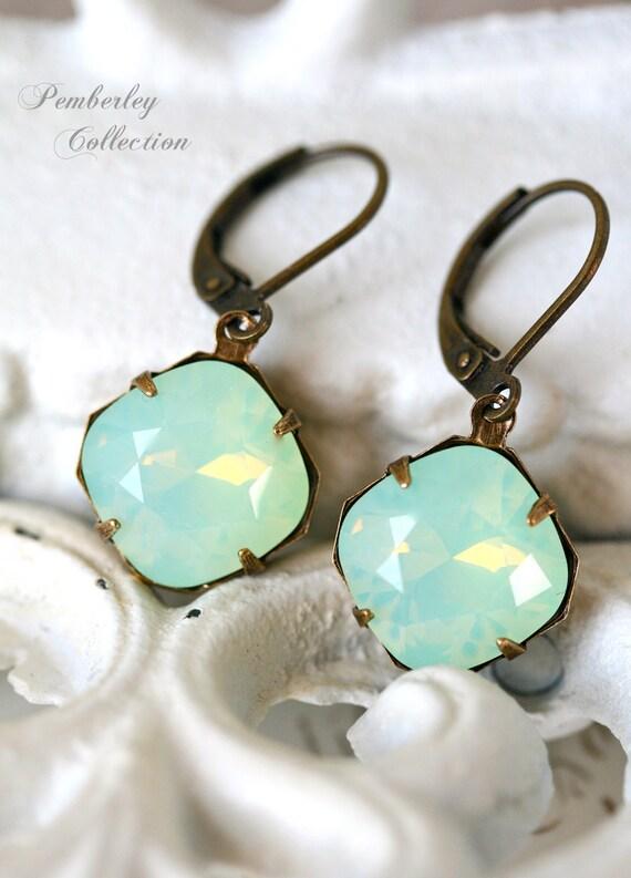 Chrysolite Opal Earrings, Swarovski Crystal Earrings, Cushion Cut, Estate Style Earrings, Opal Earrings