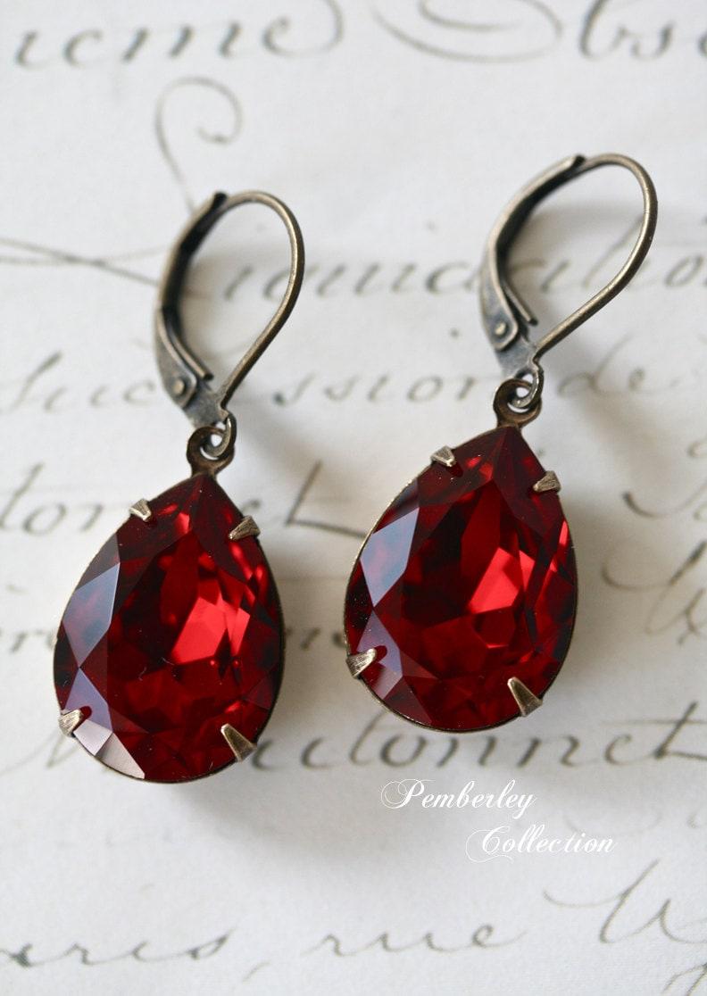 Ruby Red Swarovski Crystal Earrings Vintage Style Tear Drop