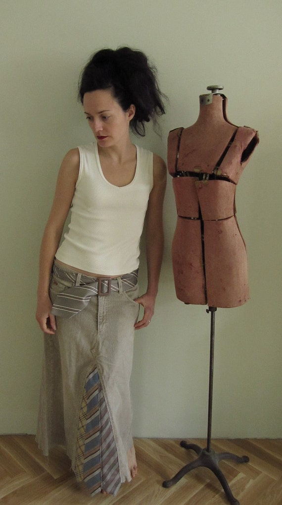 SALE / Upcycled Khaki Corduroy Jeans and Neckties Skirt WITH Necktie Belt / Womens Upcycled Clothing