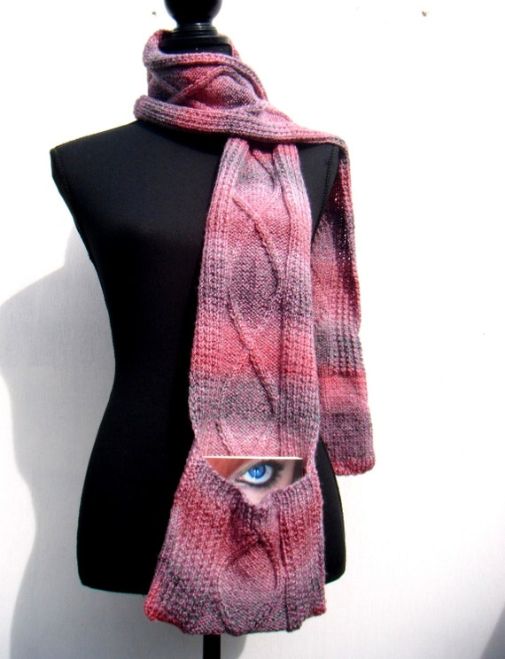 RESERVED for Helma - Scarf With Pockets, Diamond Cable Pattern, Women and Girls - Pink, Purple, White melee