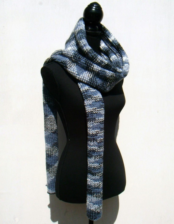 BLACK FRIDAY SALE, Cyber Monday Sale, Hand Knitted Scarf, Extra Long Scarf, Zig Zag Pattern, Mens Scarf, Womens Scarf - Blue, White, Black
