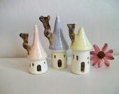 Fairy Houses -Set of 3- Pastel Colors