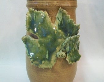 Nutmeg Wine Chiller / Vase  - with Grape Leaf  Decoration - Wheel Thrown