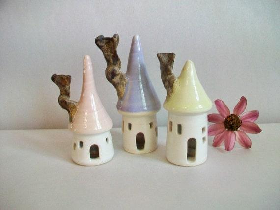 Fairy Houses -Set of 3- Pastel Colors