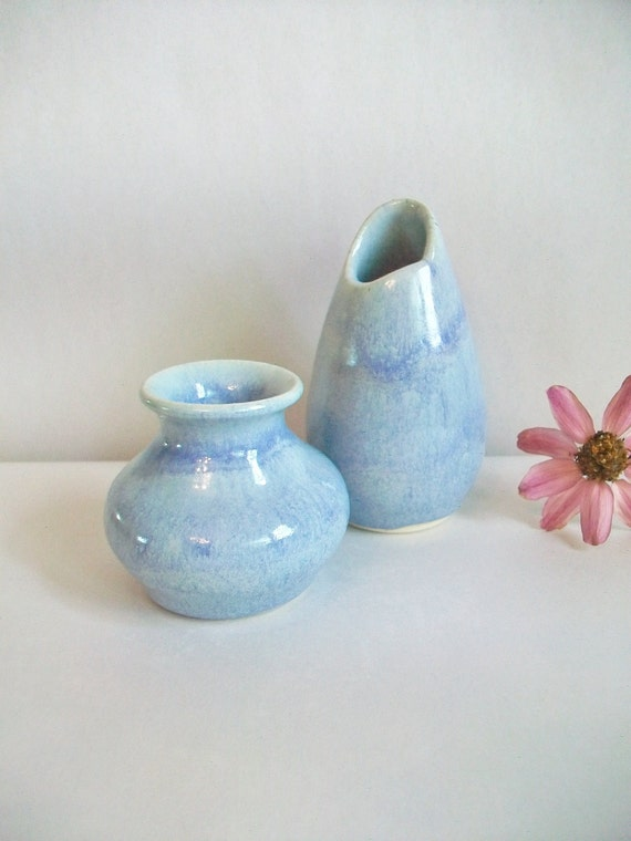 Little Vases - Set of 2 - Pale Blue/Aqua Blue Mini Vases