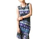 Women's Tribal Print Body Con Shift Dress with Flounce Hem