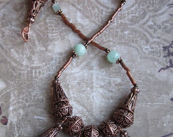 My Lady Grace - Ruby Fuschite and Copper Necklace