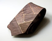 Mens silk neck ties Copper. Gifts for men. Chocolate brown Copper. Hand painted silk.