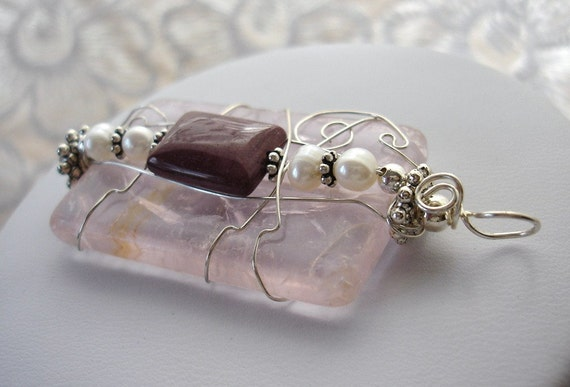 Pendant: Rose Quartz Swirl. Crazy wild wire wrapped. Large ornate. Made in Maine. Unique one of a kind