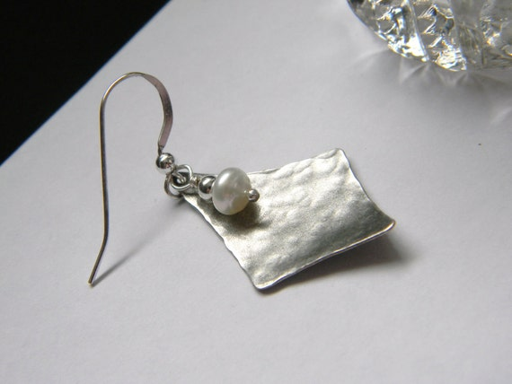 Hammered slver earrings white freshwater pearl Diamond shaped earrings. Made in Maine - made to order gift for her. Textured Silver earrings