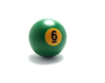 Vintage number 6 - Pool Ball - snooker - kelly green - six - sixth