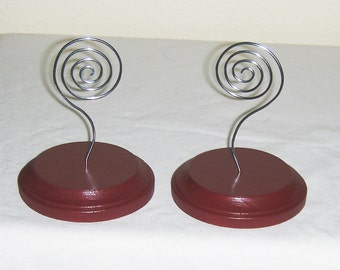 Silver Red pair card holders, photo display, recipe card holder
