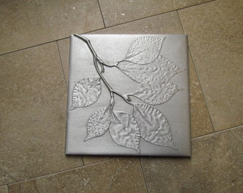 Botanical Tile, Kousa Dogwood Leaf, 6 x 6 inch, Recycled Cast Aluminum, Made to Order
