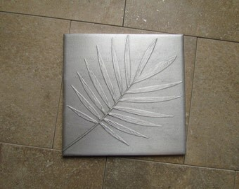 6 x 6 inch Recycled Cast Aluminum Botanical Tile, Bella Palm Leaf Wall Art, Made to Order