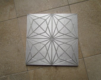 Star Tile, 6 x 6 inch Geometric Tile, Recycled Cast Aluminum Wall Art, Made to Order