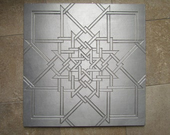 Quilt Star Tile, 12 x 12 inch, Recycled Cast Aluminum Wall Art, Made to Order