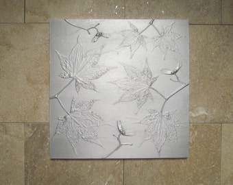 Japanese Maple Leaf Botanical Tile, Recycled Cast Aluminum Wall Art, 9 x 9 inches, Made to Order