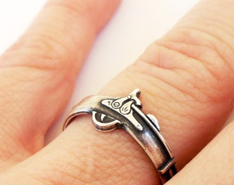 Steampunk Rifle Ring- Sterling Silver Ox Finish