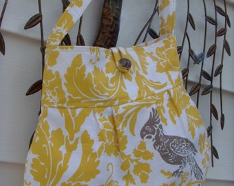 Shoulder  Bag Pleated Yellow/White Damask with Brown Bird Motif