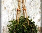 Macrame Hanging Basket- Rustic Provincial Handmade Natural Jute Macrame Plant Hanger- Custom- Made to Order