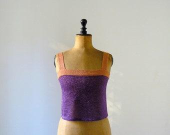 Vintage 1970s violet and orange lurex top. Sparkle knit top