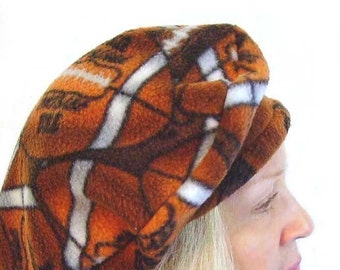 FLEECE FOOTBALL BERET Hat Cap, Women's Size Medium, Fall Autumn, Brown Orange White, Sporty Preppy Athlectic